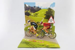 double-racing-cyclists-pop-up-greeting-card