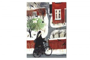 arriving-home-bicycle-greeting-card