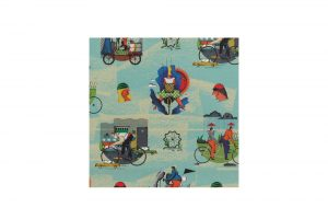 city-cyclist-wrapping-paper